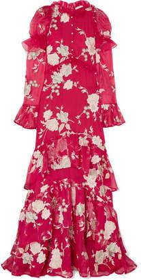 Erdem Evangeline Embellished Floral-embroidered Silk-organza Gown