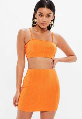 499775519a0 Missguided Petite Orange Bandage Ribbed Bralette