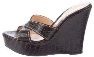 Sergio Rossi Embossed Leather Slide Sandals