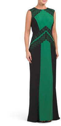 Color Block Lace Gown