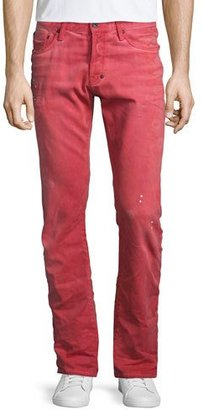 PRPS Demon Distressed Denim Jeans, Red $350 thestylecure.com