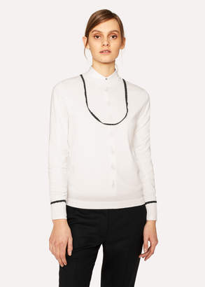 Paul Smith Women's Cream Wool Sweater With Navy Trims