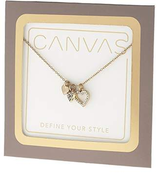 """Canvas Womens Tone Delicate Heart Pave 16"""" Adjustable Charm Necklace"""