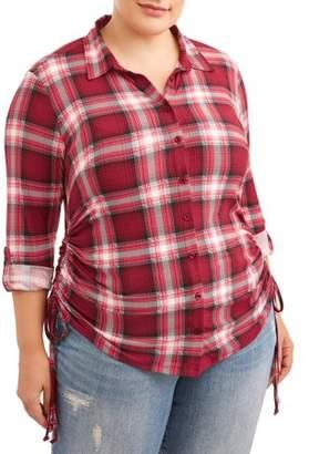 No Comment Juniors' Plus Knit Plaid Sinched Shirt