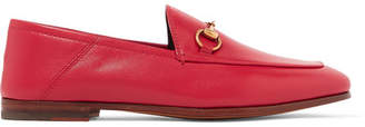 Gucci Brixton Horsebit-detailed Leather Collapsible-heel Loafers - Red