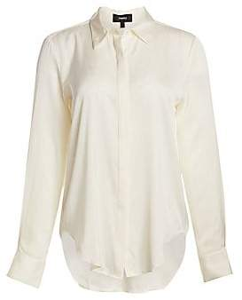 7ad1cf23be Theory Ivory Silk Blouse - ShopStyle
