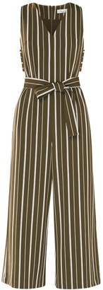 Paisie Striped Jumpsuit With Side Cut Outs With Self Belt In Olive Green & White