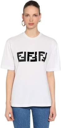 Fendi Logo Printed Cotton Jersey T-Shirt