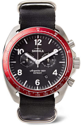 Shinola The Rambler Tachymeter Chronograph 44mm Stainless Steel and Webbing Watch