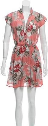 Reformation Floral Print Semi-Shear Sleeveless Midi Dress