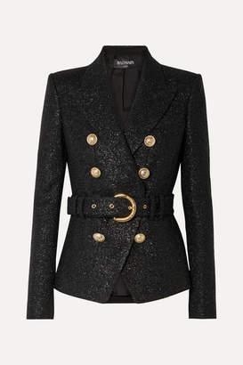 Balmain Double-breasted Belted Metallic Wool-blend Tweed Blazer - Black