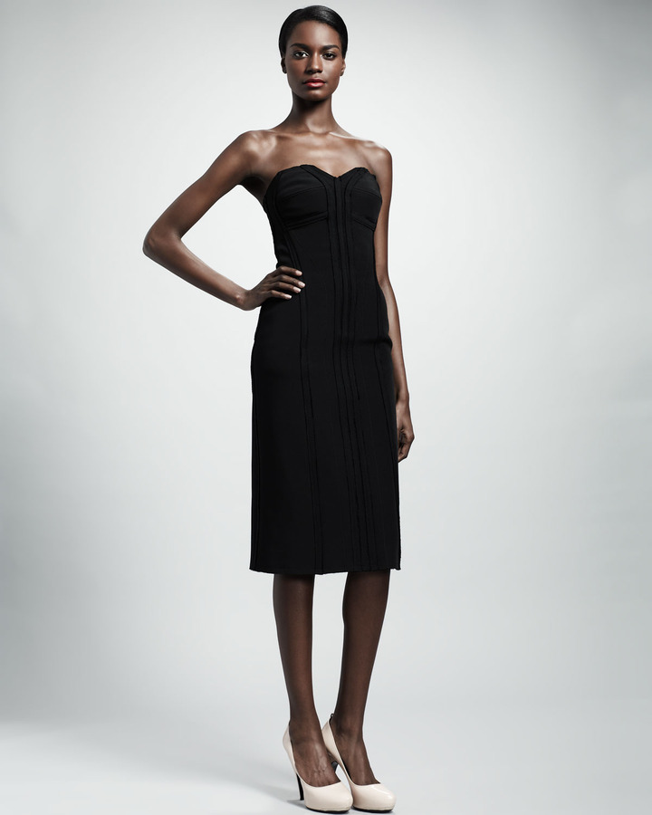 Lanvin Strapless Bustier Dress, Black