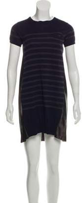 Sacai Luck Striped Mini Dress Navy Luck Striped Mini Dress