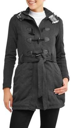 Yoki Women's Sherpa Lined Toggle Fleece Jacket With Removeable Plaid Lined Hood