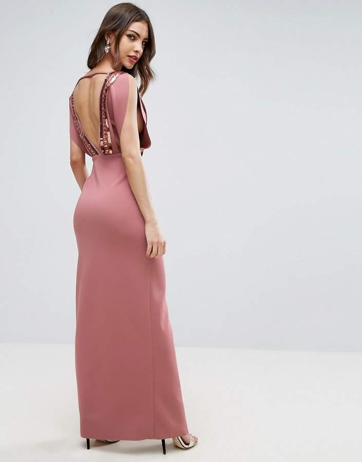 AsosASOS Embellished Back and Split Scuba Maxi Dress