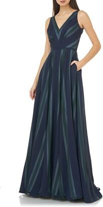 Carmen Marc Valvo Chevron Stripe V-Neck Gown