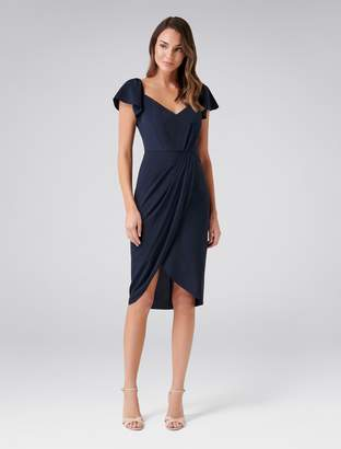 Forever New Elanor Cap Sleeve Drape Dress - Navy - 6