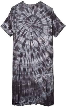 Raquel Allegra Matte Satin Tie Dye T-Shirt Dress in Slate Tie Dye