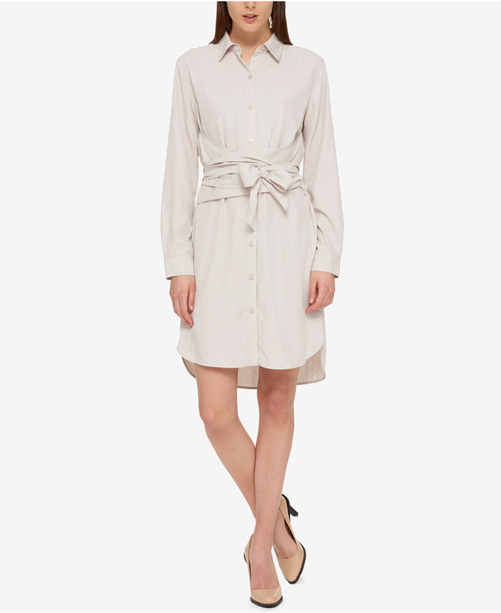 DKNY DKNY Solid Wrap Shirtdress