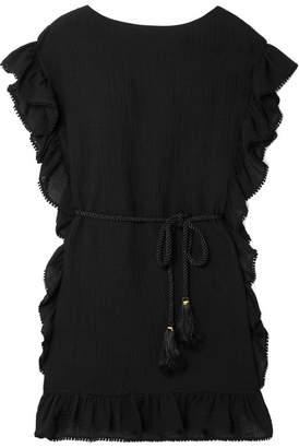 Rachel Zoe Serafina Ruffle-trimmed Cotton And Linen-blend Mini Dress - Black