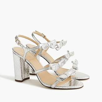 J.Crew Stella bow heels (100mm) in metallic silver