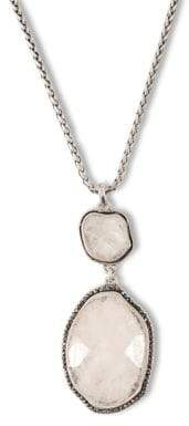 Lucky Brand Silvertone and Semi-Precious Rock Crystal Necklace