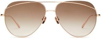 Linda Farrow Aviator Metal Sunglasses - Womens - Brown