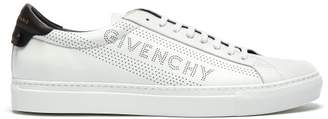 Givenchy Urban Street Logo Perforated Leather Trainers - Mens - White Black