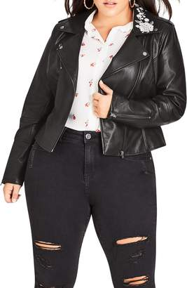 City Chic Embroidered Biker Jacket