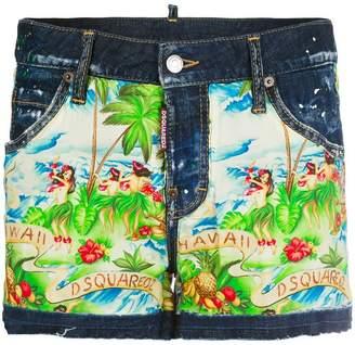 DSQUARED2 Hawaiian print denim shorts