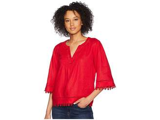 Lauren Ralph Lauren Lace-Trim Tissue Linen Top Women's Short Sleeve Pullover