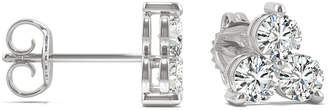 Charles & Colvard Moissanite 3-Stone Stud Earrings (1 ct. tw.) in 14k White Gold