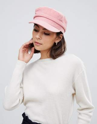 Miss Selfridge baker boy hat in pink cord