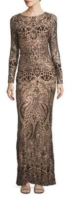 Betsy & Adam Embellished Column Gown