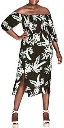 City Chic Oahu Off the Shoulder Midi Dress