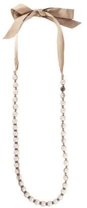 Lanvin Mesh & Faux Pearl Strand Necklace
