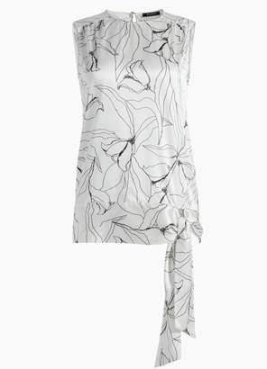 St. John Hand Drawn Artisanal Floral Print Silk Shell