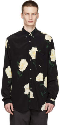 Hope Black Flower Print Button-Down Shirt
