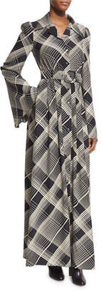 Co Plaid Hammered Silk Belted Maxi Shirtdress, Black/Off White