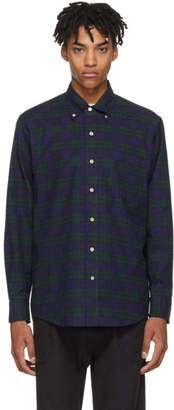 Leon Aime Dore Navy and Green Nubby Flannel Shirt