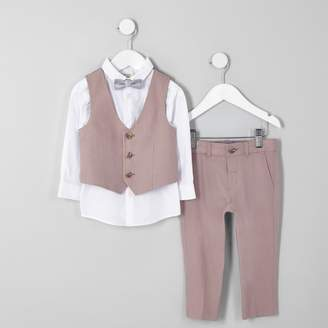 082c7c88c7 River Island Mens Mini boys Pink linen bow tie suit outfit