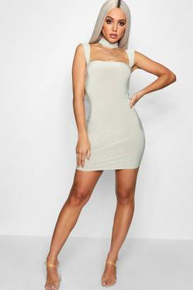 boohoo Square Neck Choker Bodycon Dress