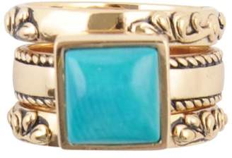 Barse Bronze Turquoise Howlite Ring Set