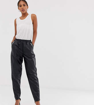 Asos Tall DESIGN Tall tapered leather look pants