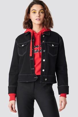 Emilie Briting X Na Kd Cuffed Denim Jacket Black