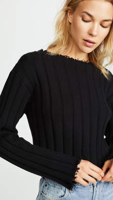 Alexander Wang Raw Edge Off Shoulder Pullover