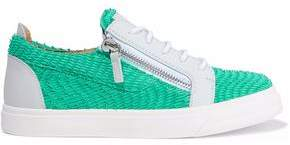 Giuseppe Zanotti London Printed Smooth And Snake-Effect Leather Sneakers