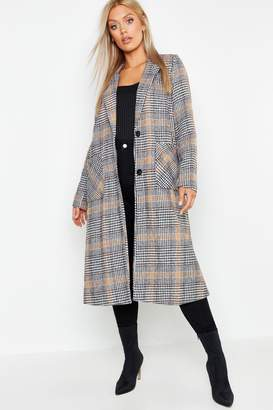 boohoo Plus Check Wool Look Coat