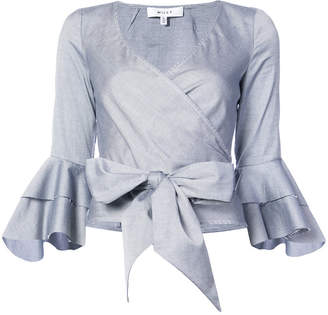 Milly frill bell cuff wrap blouse