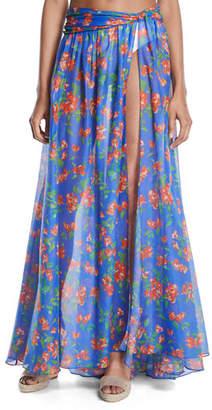 Caroline Constas Hera Floral-Print Sheer Coverup Skirt